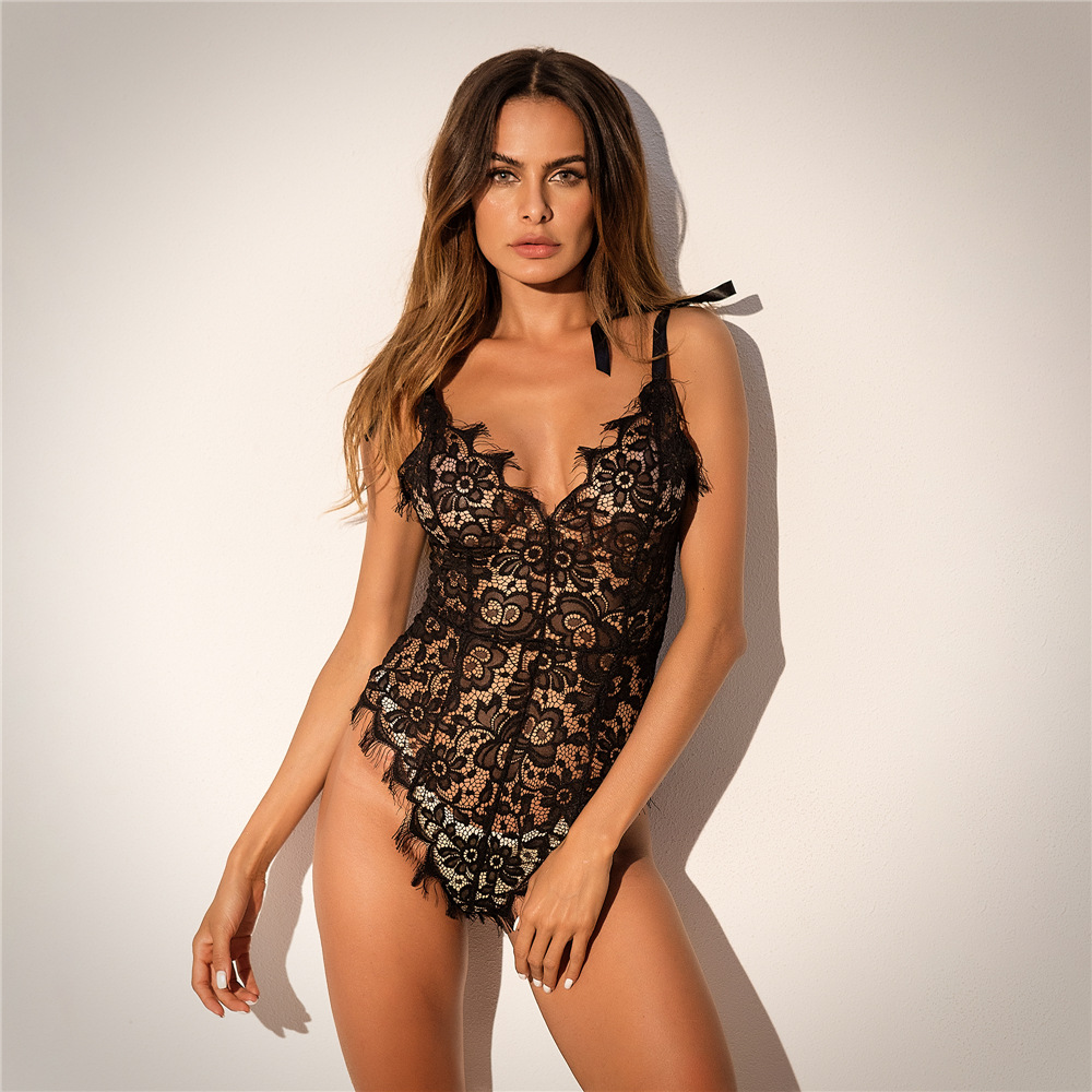 2019 Ribbon Bow Rompers Womens Jumpsuit Solid Floral Lace Bodysuit Women Backless Sexy Jumpsuit Women Deep V Neck Cute Body