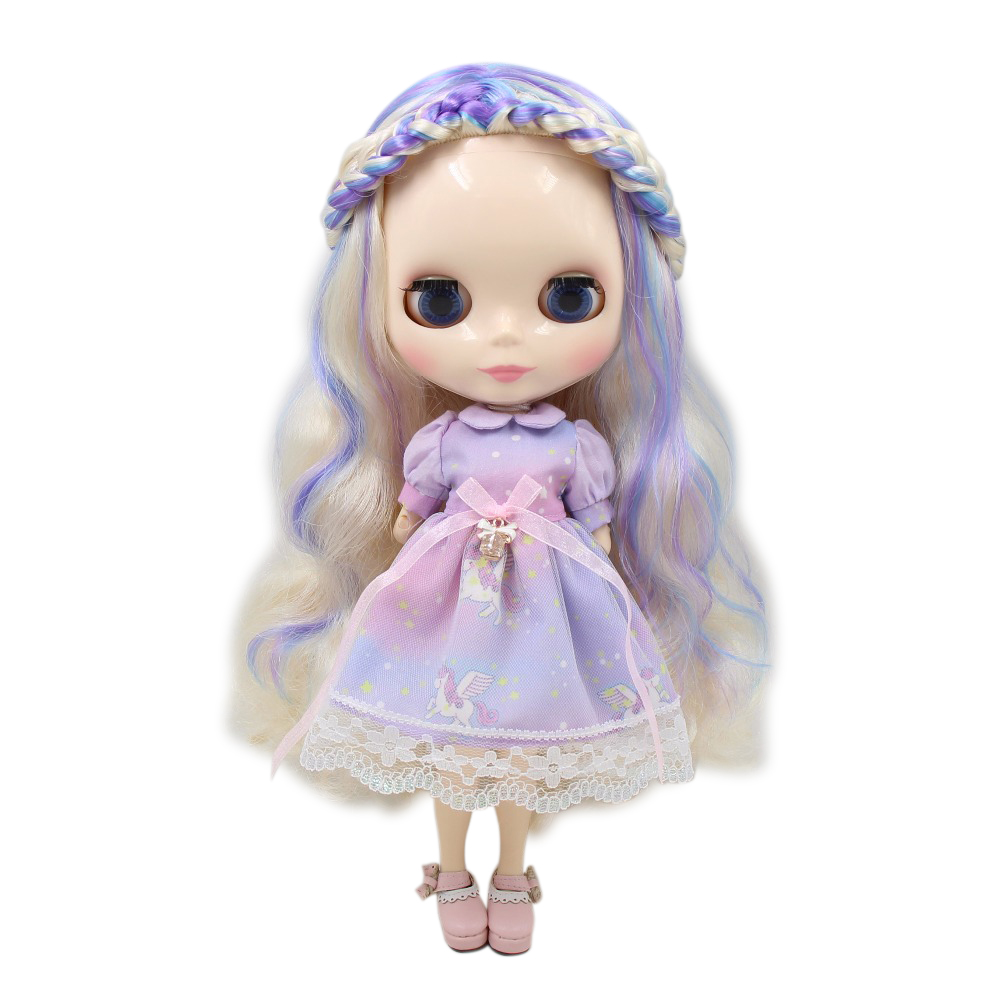 Factory blyth doll joint body white skin golden mix purple mix blue hair 6025/6227/7216/1091 1/6 30cm