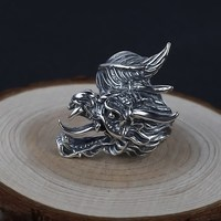 Dragon dragon cross river dragon head ring domineering personality sterling silver hipster index finger live silver ring