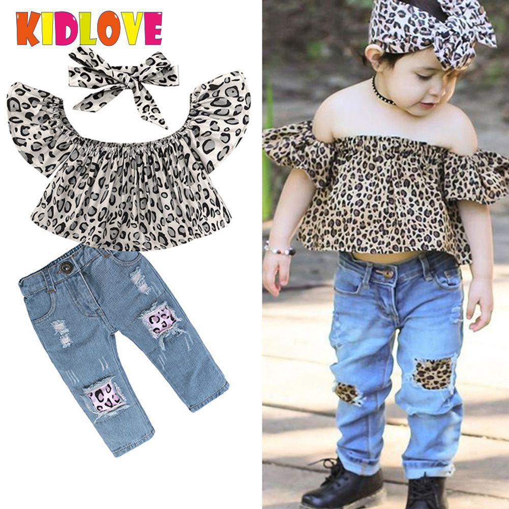 Kidlove BabyGirls Off-shoulder Leopard t shirt full length holes jeans bowknot hairband 4-7T girls summer clothing sets san0 ...