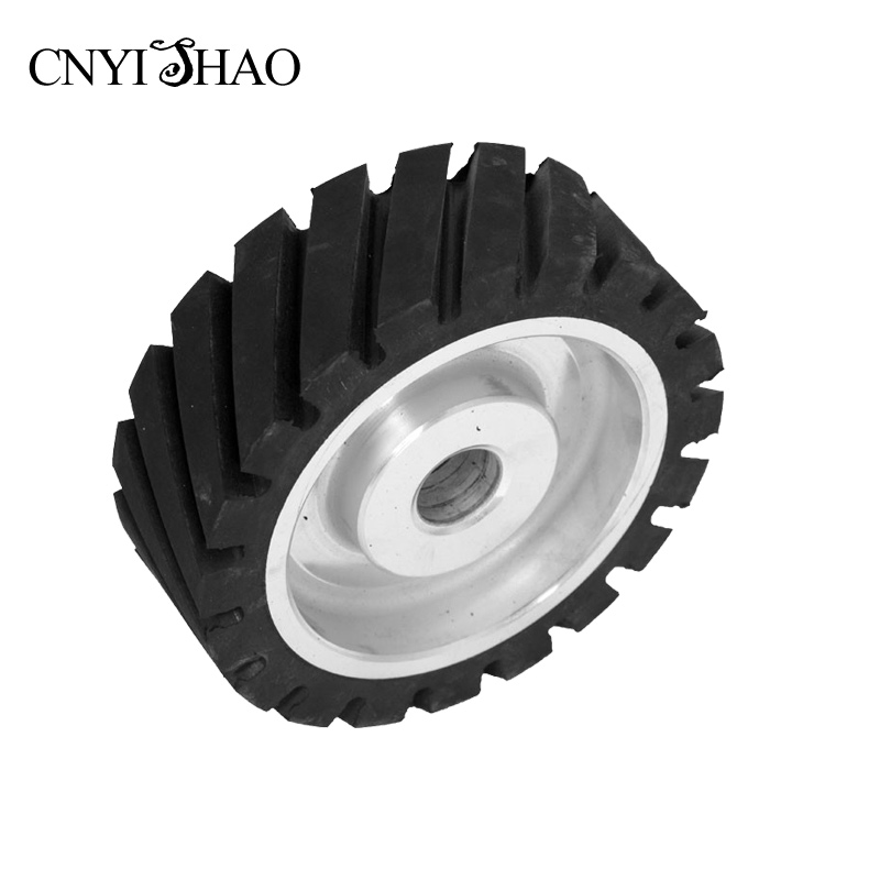 CNYISHAO 150*50*25mm Serrated Contact Wheel Forged Rubber Drive Wheel for Belt Sanders and Polisher