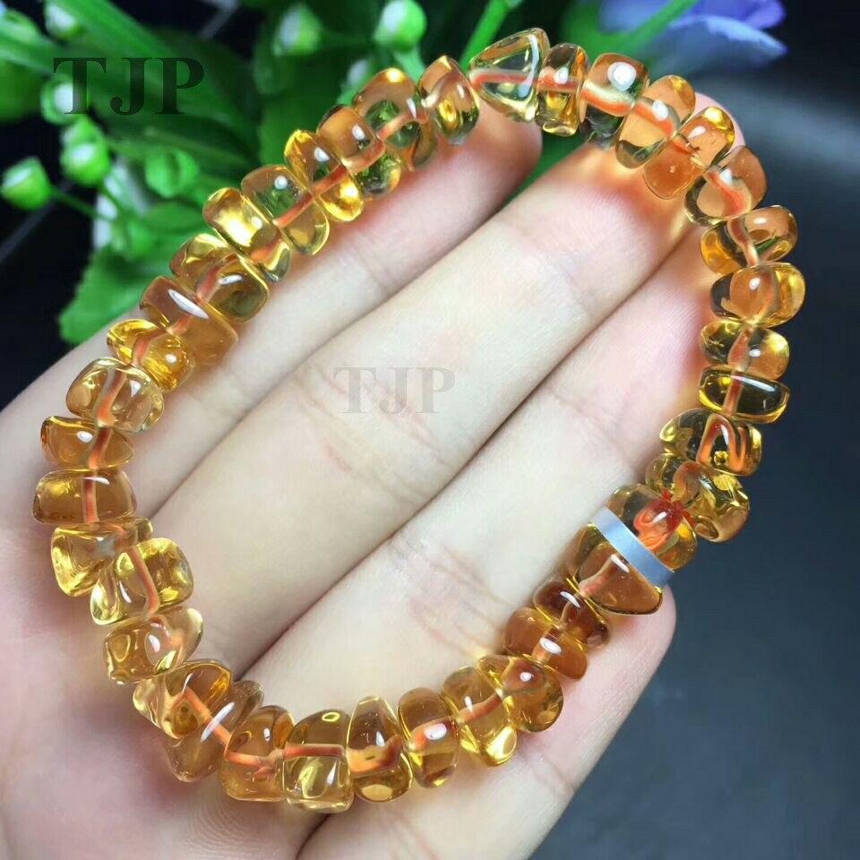 Or naturel bruni citrine jaune crétin aléatoire bracelet bracelets avec certificat ensemble manchette bracelet bijoux fins