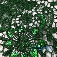50yard/lot Green Embroidery Lace Sequin Fabric Flower Wedding Lace Trim Applique Women Dress DIY Accessories DHL Shipping