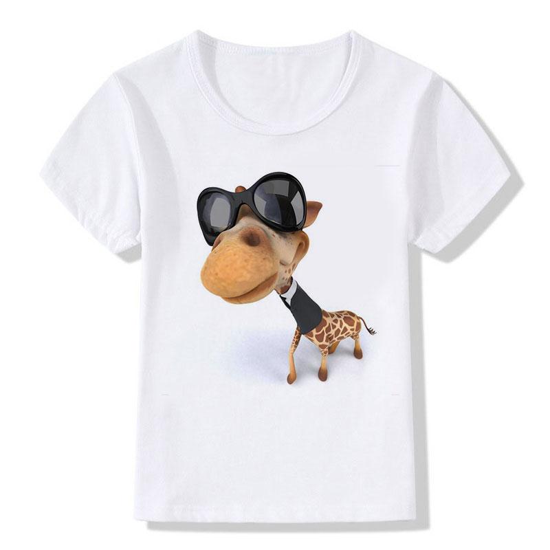Kinderen Tops Tees Cartoon Grappige Big Head Giraffe met zwarte - Kinderkleding - Foto 3