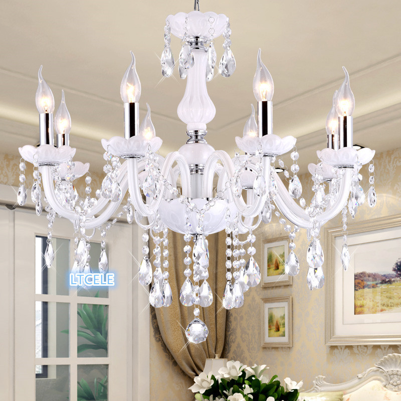 Dining room Kitchen Living room Crystal chandelier White Color lampara de techo de crystal luxury crystal chandeliers candelabro led chandeliers for dining room bedroom kitchen white color k9 crystal chandelier light for home decoration lustres para quarto