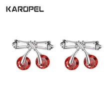 цена на Cute Red Cherry Earrings Sweet Fruit Fresh Cherry Female Fashion Beautiful Girl Students Earrings For Women