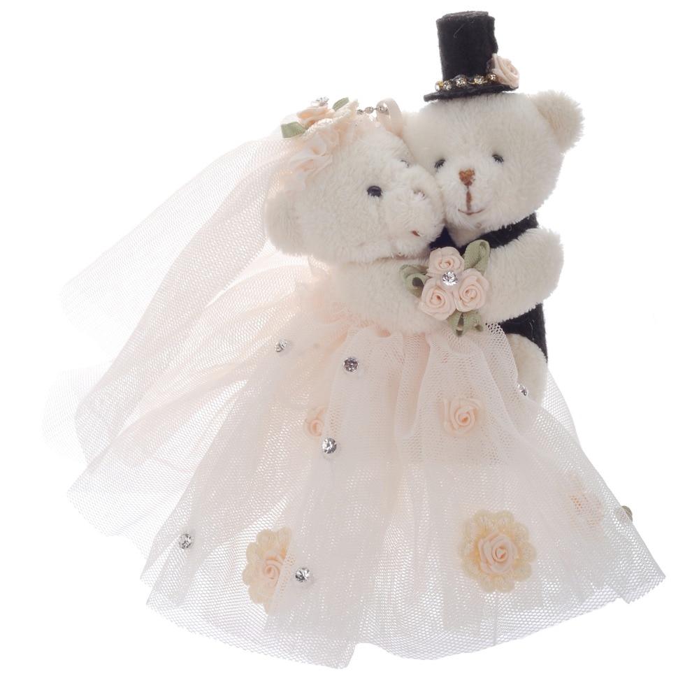 Wedding Bear  Couple Teddy Small Pendant Cute Stuffed Animal Toys Lover Plush  6'New