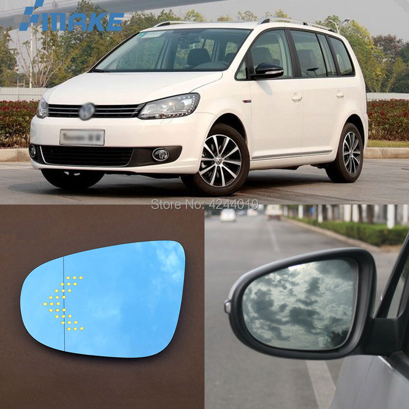 smRKE For VW Volkswagen Touran Car Rearview Mirror Wide Angle Hyperbola Blue Mirror Arrow LED Turning Signal Lights