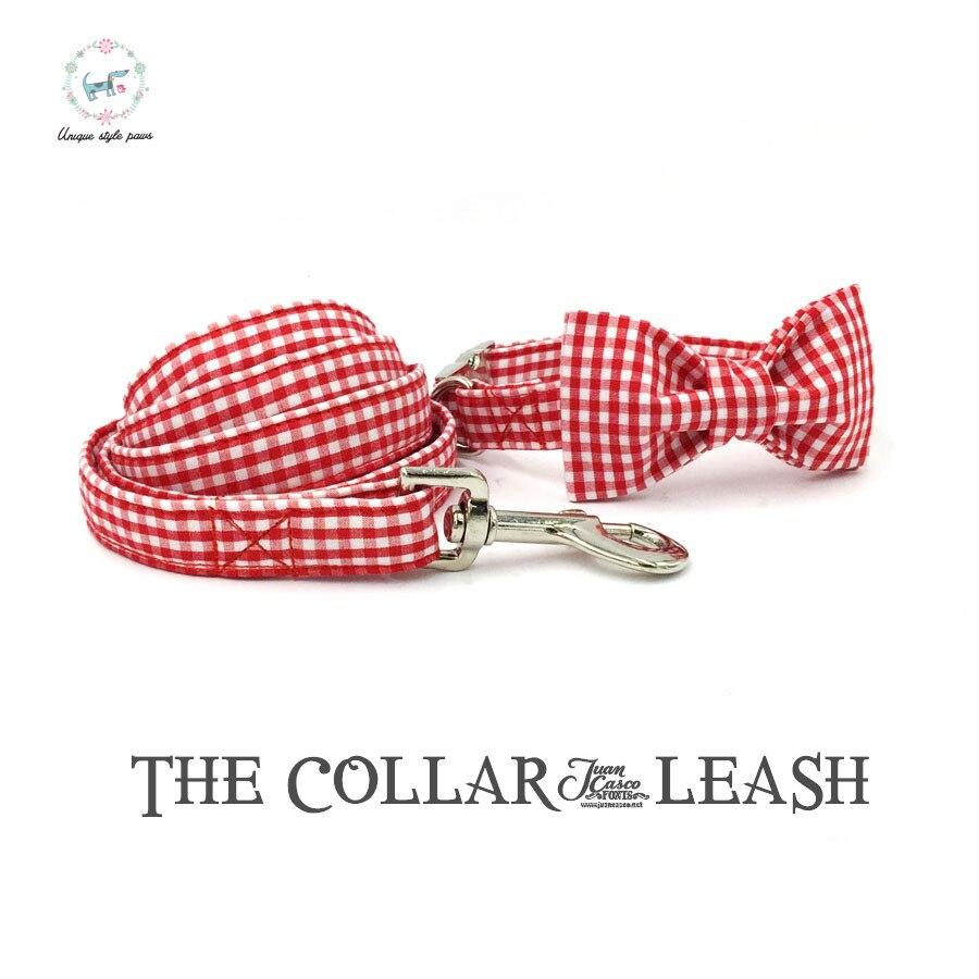 Rayado rojo collar y plomo set con pajarita personalizada ajustable PET pupply100 % algodón collar del perro y del gato y perro