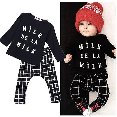 Newborn Baby Boys Girls T-shirt Pants Sportwear Tracksuit Outfits Set Clothes Baby Clothes Set Baby Clothing Set