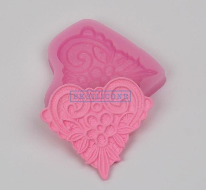 Силиконовые Формы цветочные кружева в форме сердца украшения торта инструменты DIY помадка торт шоколадная форма Сахар ремесло плесень