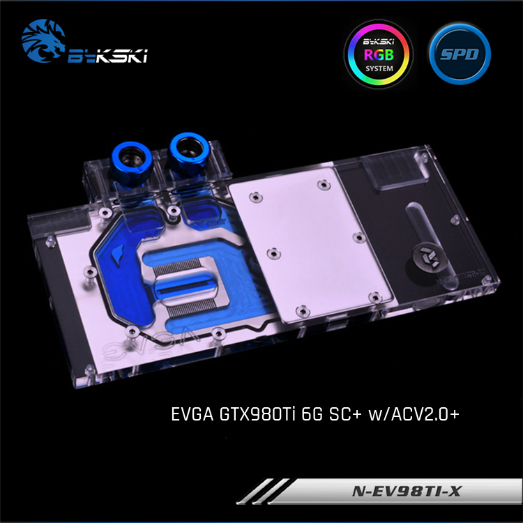 Bykski N-EV98TI-X, RGB/RBW Full Cover Graphics Card Water Cooling Block, For EVGA GTX980Ti 6G SC+ w/ACV2.0+ bykski n ms1060dark x full cover graphics card water cooling block rgb rbw aura for msi geforce gtx1060 6g duke