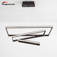 Dragonscence современные светодиодные подвесной светильник прямоугольник рамки блеск освещения Алюминий лампа для столовой Спальня Ресторан Са