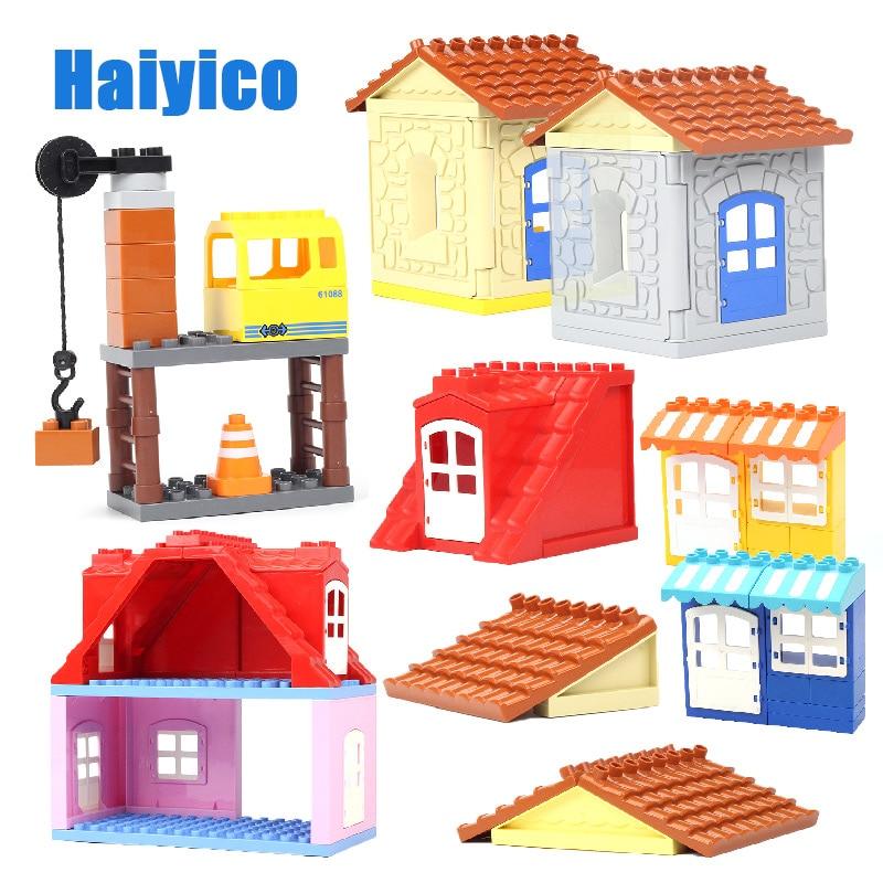 Große Partikel Montage Zubehör Set Bausteine DIY Spielzeug Kreativität Kompatibel mit Duplo dach haus wand