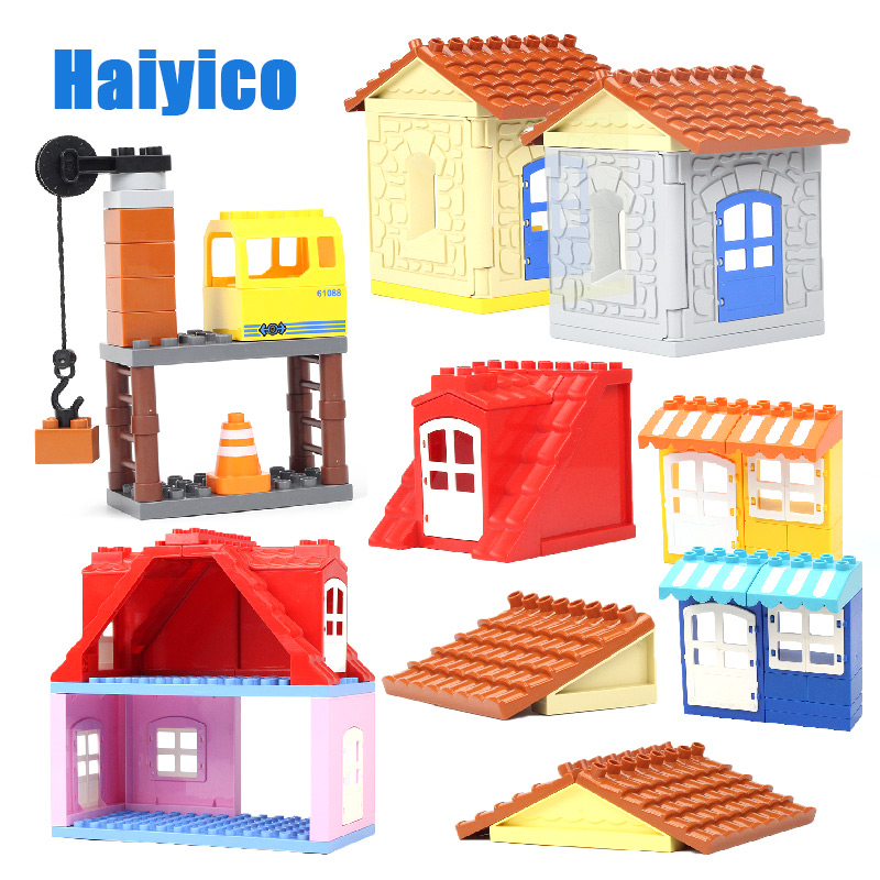 Large Particles Assembling Accessories Set Building Blocks DIY Toys Creativity Compatible with Duplo roof house wall цена 2017