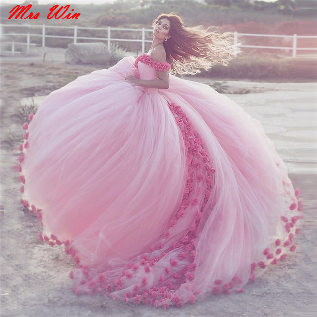 0dc0e92e3227 Saidmhamad Off the Shoulder Hand Made Scattered Flowers Pink Ball Gowns  Beach Bridal Dress with Color Wedding Dress