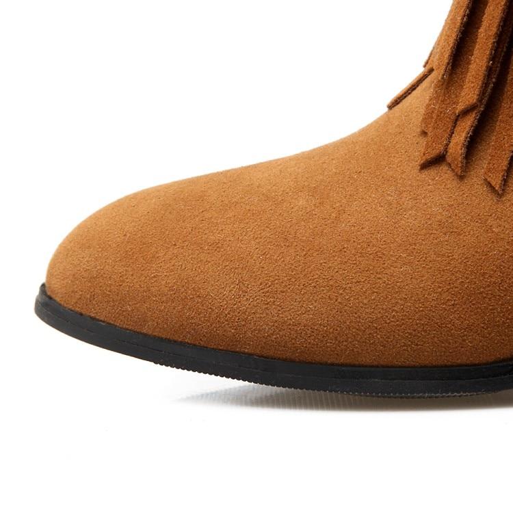 ENMAYER Winter Female Plus Size 34-43 Snow Boots Pointed Toe Slip-on Flats Ankle Boots Fringe Black Beige Shoes Women for Ladies