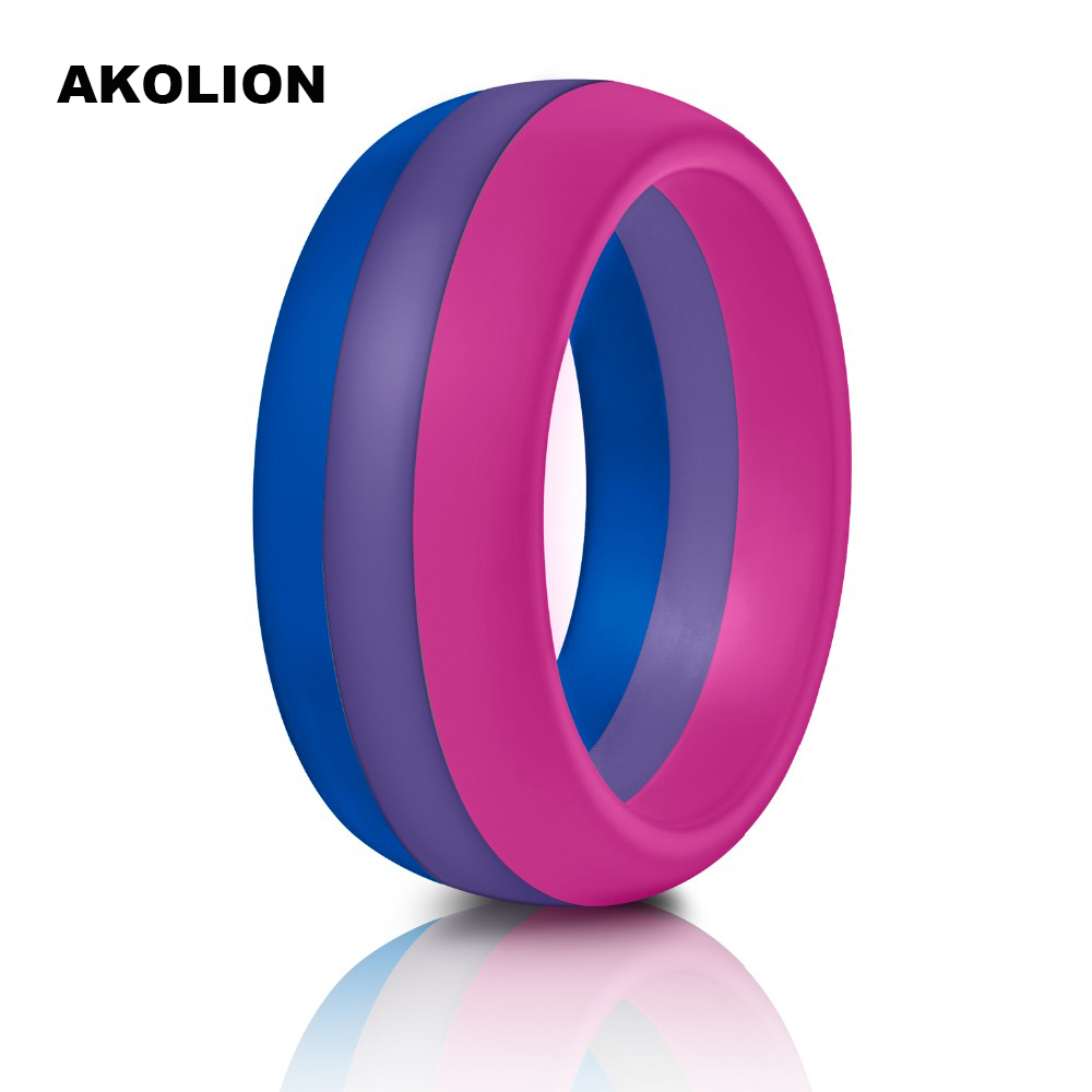 1PCS For Man New Silicone <font><b>Bisexual</b></font> Pride Ring Wedding Round Solid Comfortable Rings Wide Gay Pride <font><b>Jewelry</b></font> SR-0001 image