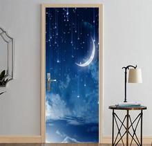 3D Prints Starry Sky Poster PVC Waterproof Entire Door Sticker Creative Stickers Door Wall Sticker DIY Mural Bedroom Home Decor