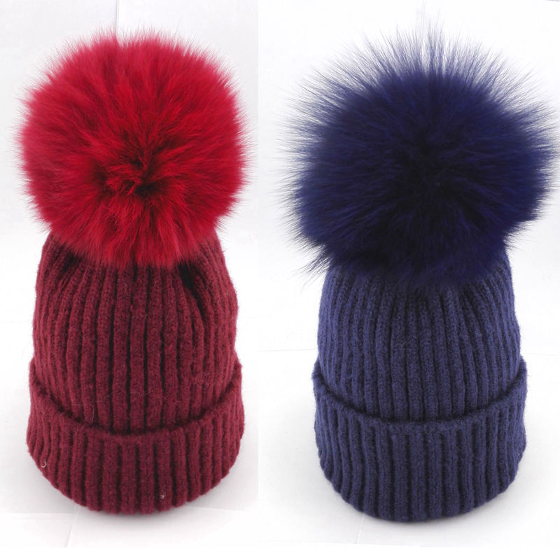 цена на Bnaturalwell Kids Real Fox Fur Pom Poms Hats Child Winter Knitted Beanies Big Pompom Hats Boys Girls Child Warm Caps 1pc H029