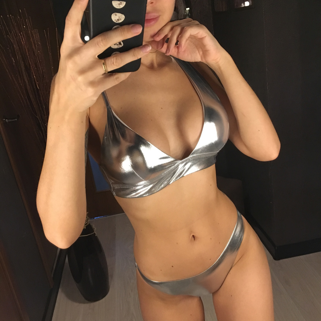Bikini 2019 New Shiny Silver Swimwear Women Two Piece Swimsuit Female Bikini Set Asymmetrical Riband Beach Bather Bathing Suit