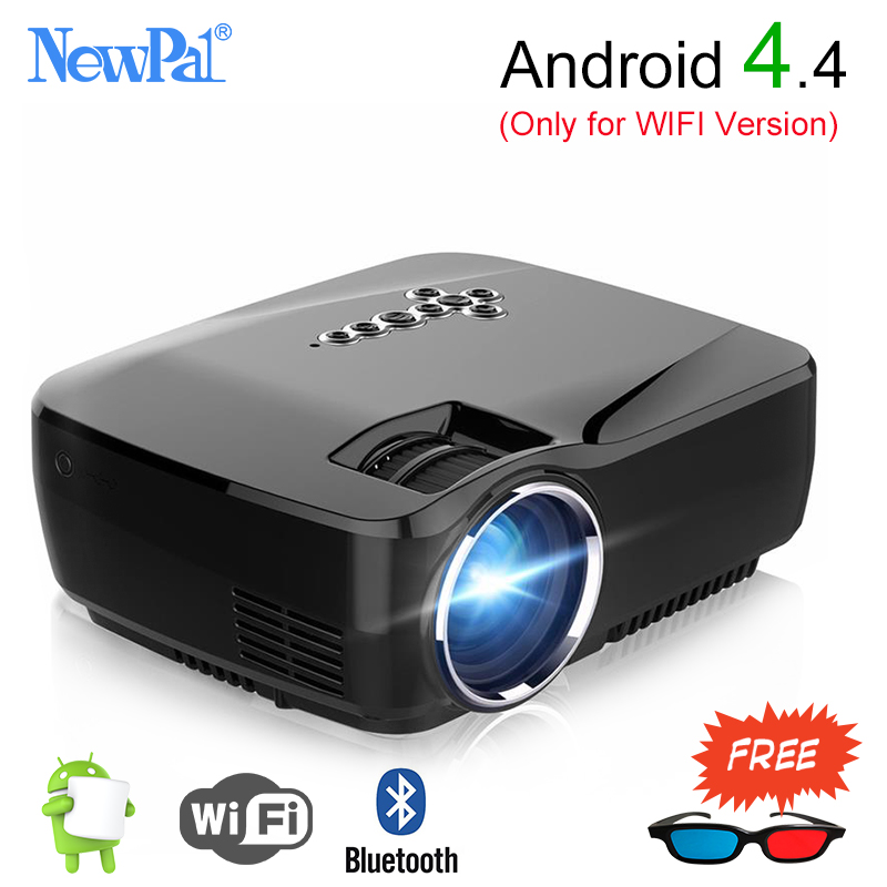 Newpal Mini Portable LED font b Projector b font GP70 Optional Android Bluetooth WiFi 1200Lumens HDMI