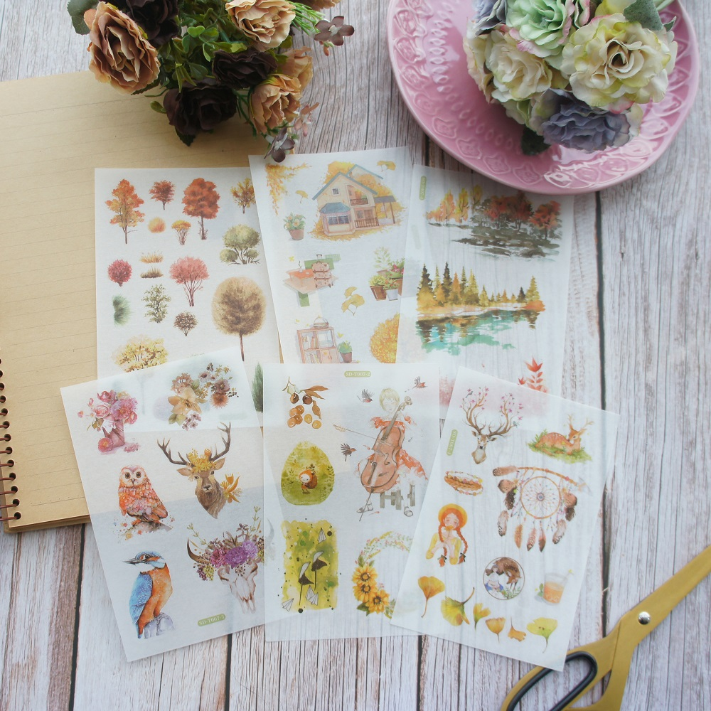6 Sheets Yellow Mysterious Forest Design Washi Paper Sticker As Scrapbooking DIY Wedding Gift Packing Decoration Tag in Stickers from Home Garden
