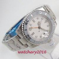 43 Mm Steriele Witte Wijzerplaat Saffier Glas Romantische Zoete Datum Gmt Saffier Keramische Bezel Automatisch Uurwerk Horloge