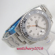 43mm Sterile White Dial Sapphire Glass Romantic Sweet Date GMT Ceramic Bezel Automatic Movement mens Watch