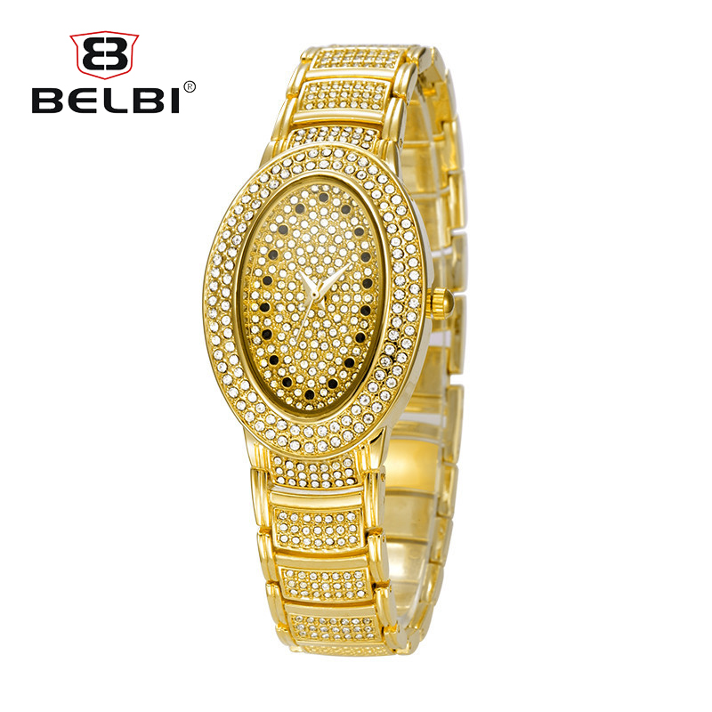 BELBI New Watch Women Golden Stainless Steel Luxury Full Diamond Oval Dial Casual Quartz Wristwatch Ladies Fashion Banquet Clock longbo new fashion watch women luxury stainless steel elegant color dial casual quartz wristwatch ladies clock relogio feminino