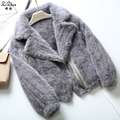 Autumn Winter Women Knitted Genuine Mink Fur Cardigan Female Natural Real Mink Fur Coat Jacket With Pocket Zipper 161128-1