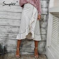 Simplee Ruche impression de haute taille wrap jupe 2017 automne hiver vintage plage jupe femmes Blanc satin maxi jupes casual bas