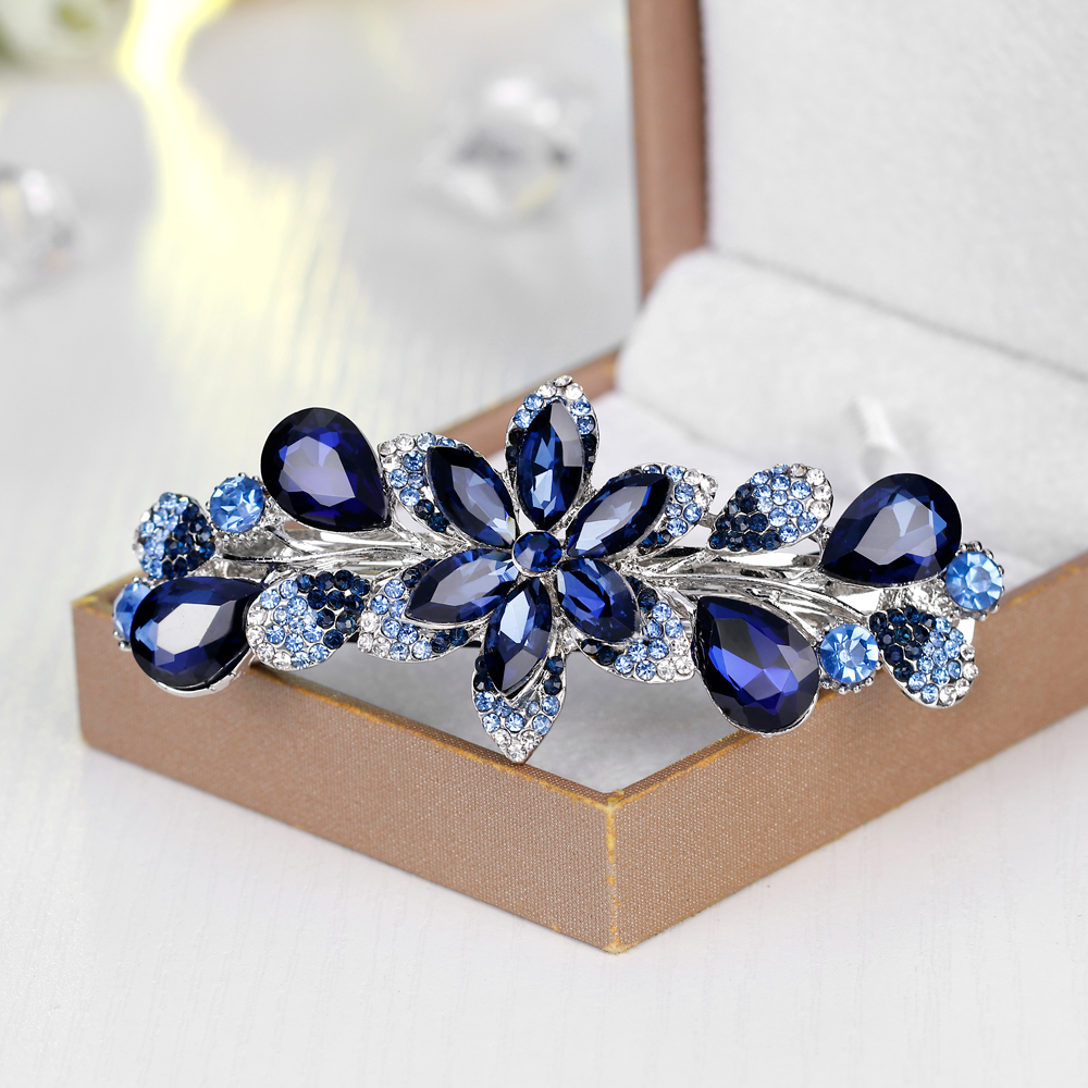 2018 Hair Clips for Women Flower Hairpins Accessories Jewelry with Stone Elastic Rhinestone Hair Ornaments tiara Jewelry