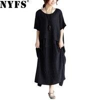 NYFS 2018 New Summer dress China Style solid irregular Women dress Loose Vintage Cotton Linen Long Dress Vestidos Robe Elbise