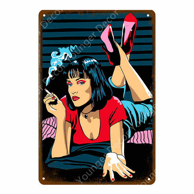 Classic Movie Pulp Fiction Posters Retro Kraft Wall Sticker Bar Pub Cafe Home Decor Painting Wall Plaque Vintage Metal Signs