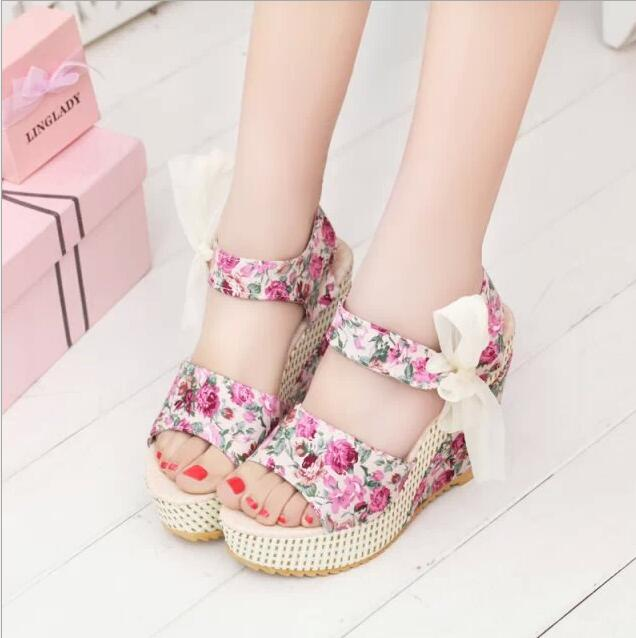 XDA 2019 New Arrival Women Sandals Summer Open Toe Fish Head sandals Fashion Platform High Heels Wedge Sandals Female Shoes E132 4