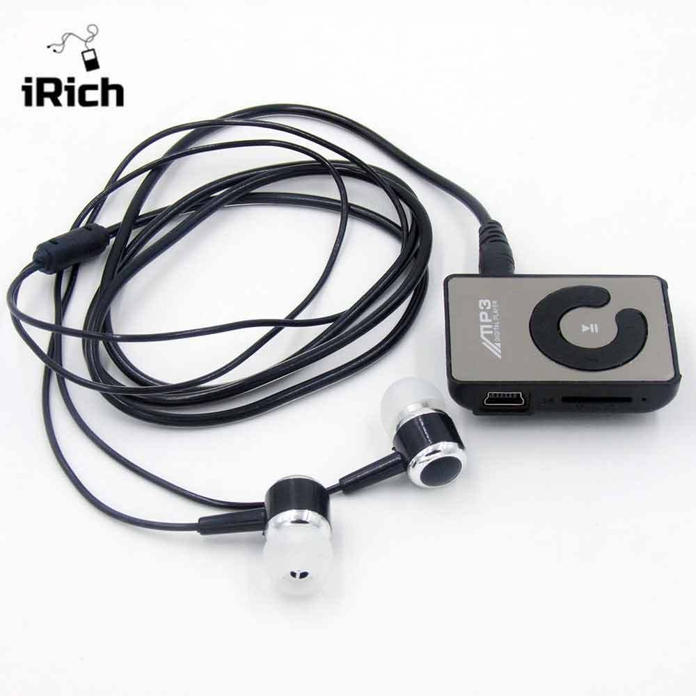2017 New Mini Mirror Fashion Clip Sport USB Micro SD TF Mirror Button MP3 Music Player with earphone Free Shipping mp3