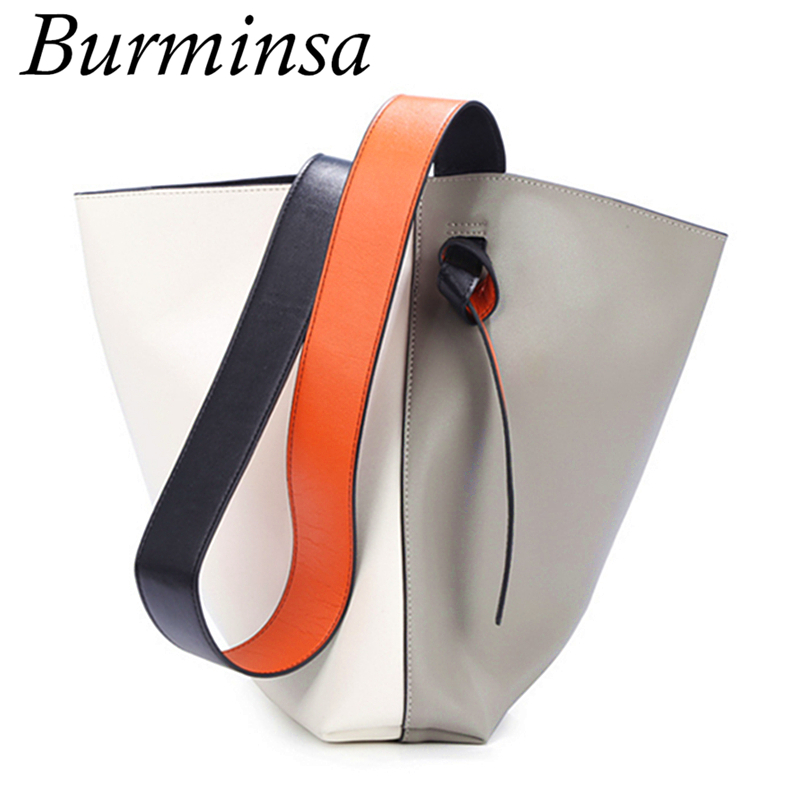 Burminsa Brand Genuine Leather Bags Bucket Designer Handbags High Quality Ladies Tote Shopping Bags Shoulder Bags For Women 2017 luxury togo genuine leather bags famous brand designer handbags high quality office ladies tote shoulder bags for women 25 30