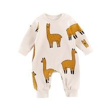 Детский комбинезон с милыми животными для мальчиков и девочек, комбинезон, одежда с длинными рукавами для младенцев, унисекс, цельный комбинезон, Одежда для новорожденных детей