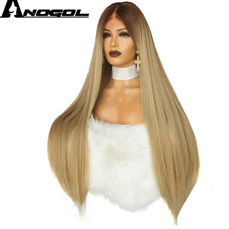 Anogol High Temperature Fiber 360 Frontal Long Straight Brown Ombre Blonde Full Hair Wigs Synthetic Lace Front Wig For Women