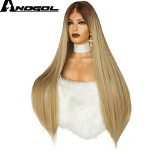 Anogol High Temperature Fiber 360 Frontal Long Straight Brown Ombre Blonde Full Hair Wigs Synthetic Lace Front Wig For Women(China)