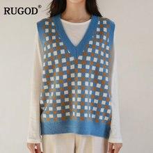 Rugod 2020 осень зима женский винтажный вязаный жилет с узором