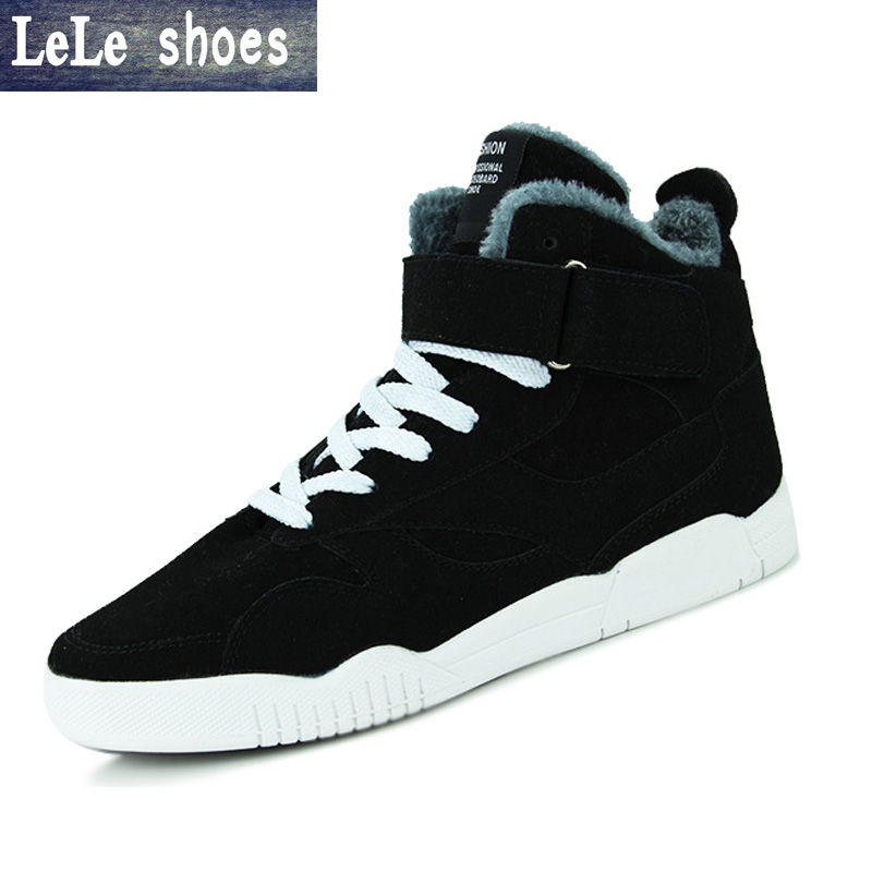 New Brand Autumn Winter Men Ankle Boots Suede Leather Plush Wram Flat Heel High Top Snow Casual Shoes British Style Chaussure