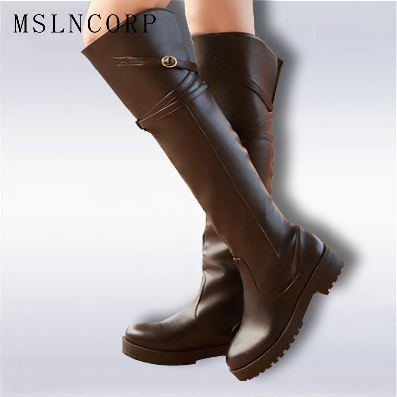 Plus size 34-43 women boots high quality Russia knee warm thick fur snow boots patent leather winter shoes Over-the-Knee boots plus size 34 43 autumn winter genuine leather women flower shoes lady high heel long boots embroidered over knee high snow boots