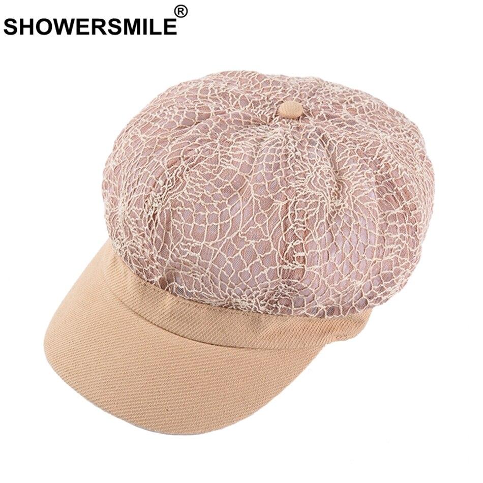 Showersmile Frauen Elegante Spitze Hut Newsboy Cap Sommer Mesh Atmungs Weiblichen Flachen Hut Elastischen Hohl Rosa Damen Bäcker Junge Kappe