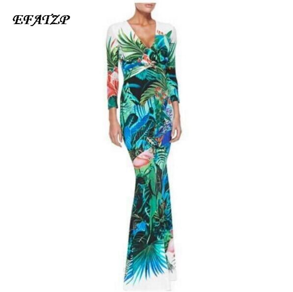 63c030c0a125 Women's Luxury Brands Jersey Silk Dress Long Sleeve Vintage Floral Printed  Bodycon Spandex Stretchable Signature Maxi Dress
