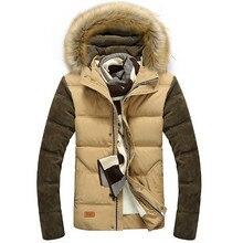 Thickening Winter Jacket Men Fashion Warm Down Parka Coats Fur Hat Slim Cotton-Padded Jackets Outerwear For Men 4XL 5XL