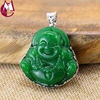 Kadın Erkek Kolye Oyma Yeşil Yeşim Şanslı Budizm Şekil Charms Takı Vintage Aksesuarları 925 Ayar Gümüş Kolye