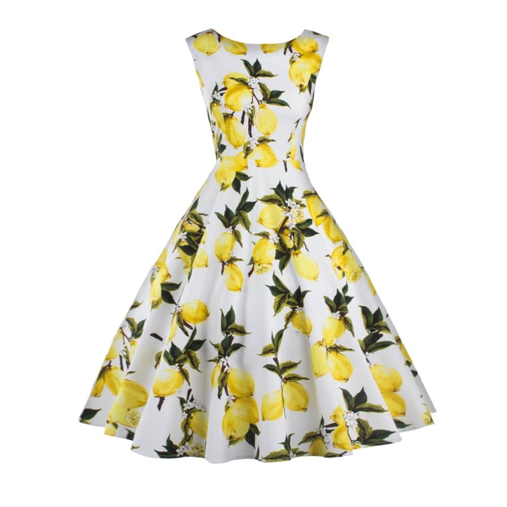 Buy Cheap Lemon Printing Swing 1950s Dress 2016 Lemon Printing Midi Length Vintage Dresses O-Neck Ball Gown Women Plus Size Summer Dress