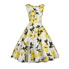 Save 16.8 on Lemon Printing Swing 1950s Dress 2016 Lemon Printing Midi Length Vintage Dresses O-Neck Ball Gown Women Plus Size Summer Dress